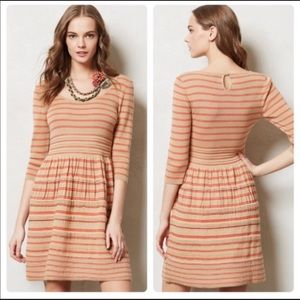Knitted And Knotted Elodie Dress Tan Orange Stripe